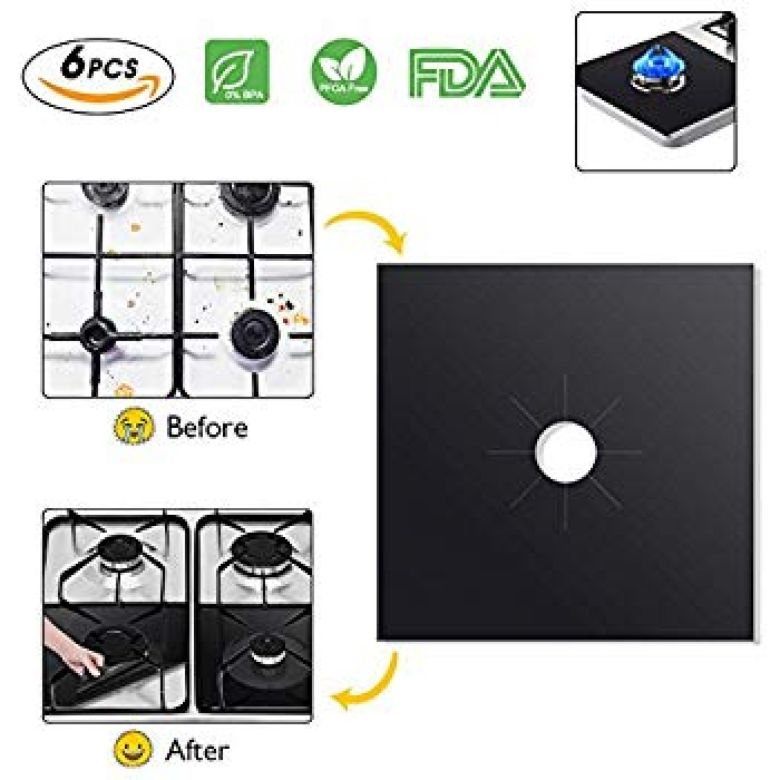 Amazon.com: Kitchen Stove Burner Covers 6 Pack, Knifun DIY Gas Range Protectors, Reusable Thick Stovetop Burner Liners, Non-Stick & Easy Clean: Kitchen & Dining