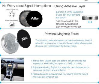 Buy 2 Pack Stick-on Dashboard Magnetic Car Mount Holder for $2.99