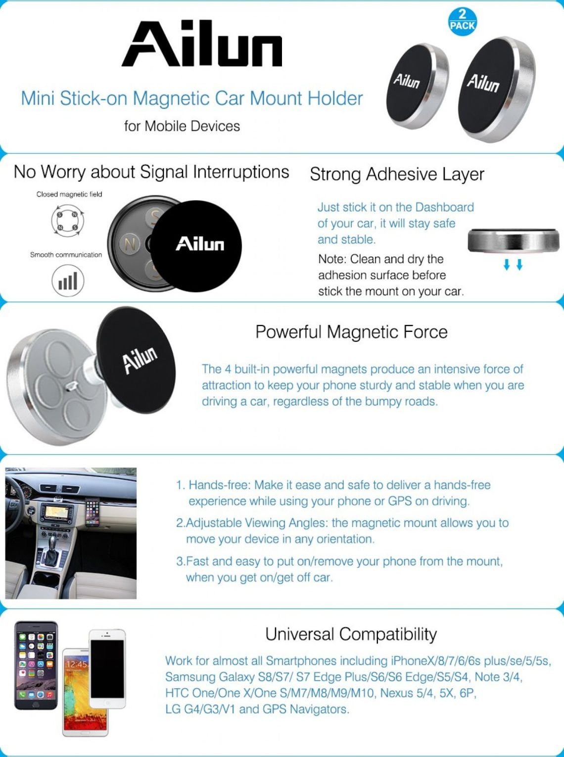 Amazon.com: Mini Car Phone Mount,Magnet Key Holder,by Ailun,[2Pack]Stick-on Dashboard Magnetic Car Mount Holder,for iPhone X/8/8Plus,7/6/6s Plus,Galaxy S9/S9+,S7/S6 & more phones and chargers[Silver]: Cell Phones & Accessories