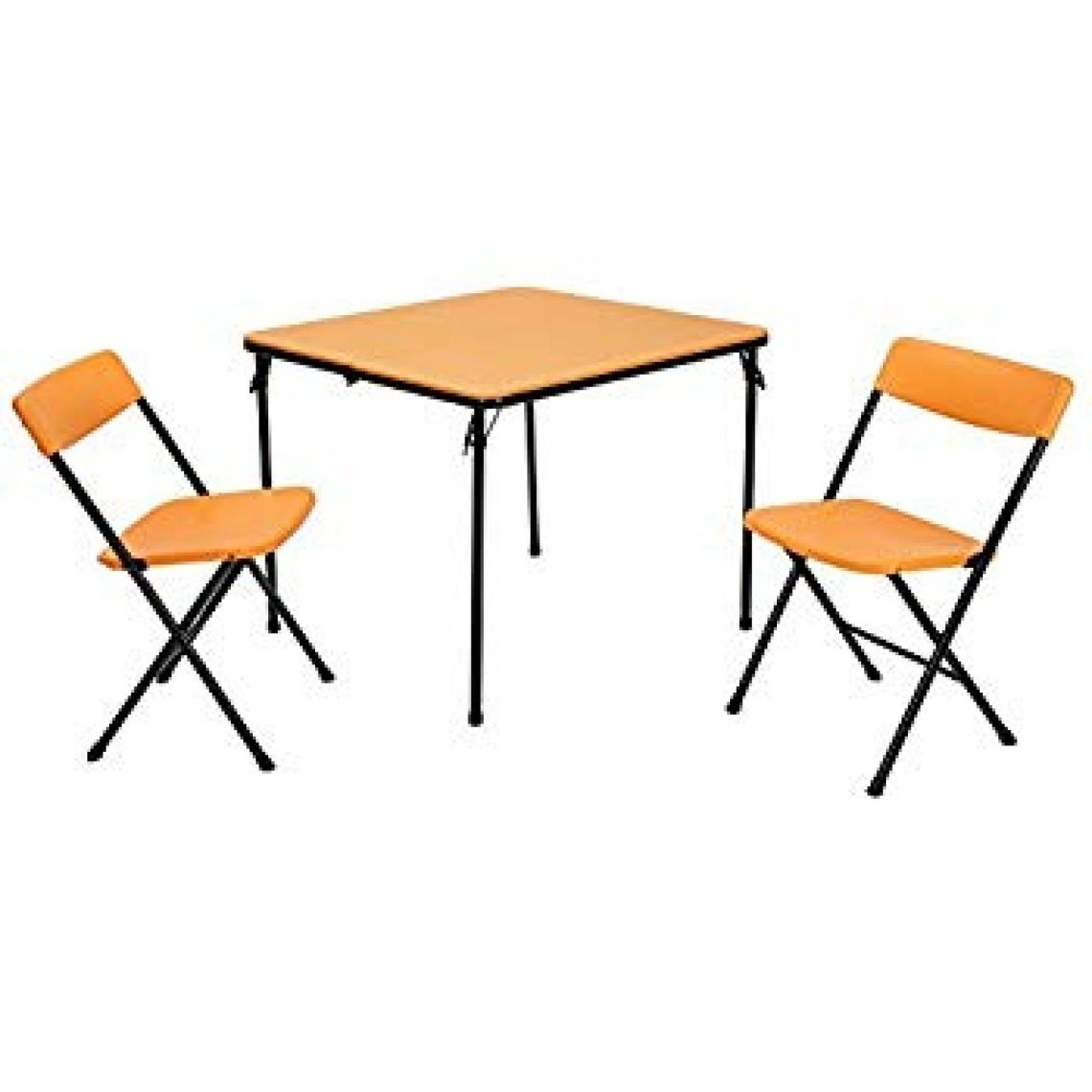 Amazon.com: Cosco Products COSCO 3 Piece Indoor Outdoor Center Fold Table and 2 Chairs Tailgate Set, Orange, Black Frame: Kitchen & Dining