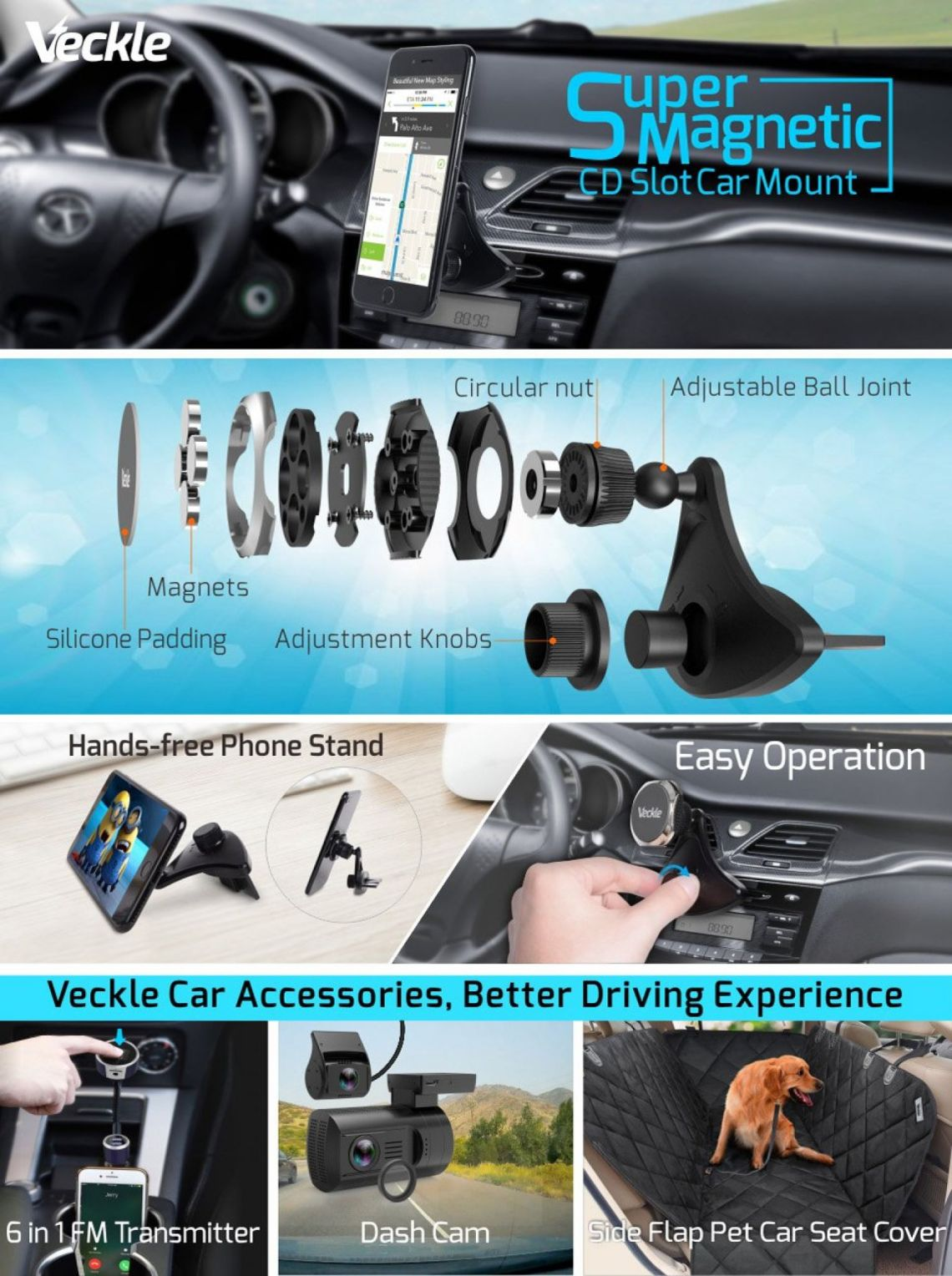 Amazon.com: Car Phone Holder, Veckle CD Slot Magnetic Phone Car Mount Holder Strong Magnet Phone Holder for Car Universal Cradle for Smartphone iPhone 8 7 6S 6 Plus X Samsung Galaxy S8 S7 Edge Note 8 5 GPS, Black: Cell Phones & Accessories