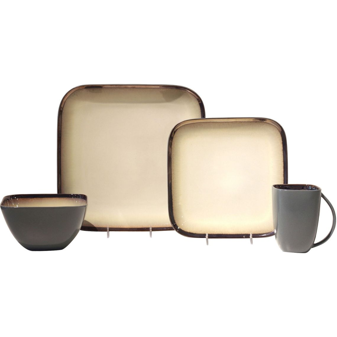 Baum Harrison Square 16-Piece Stoneware Dinnerware Set, Ivory - Walmart.com