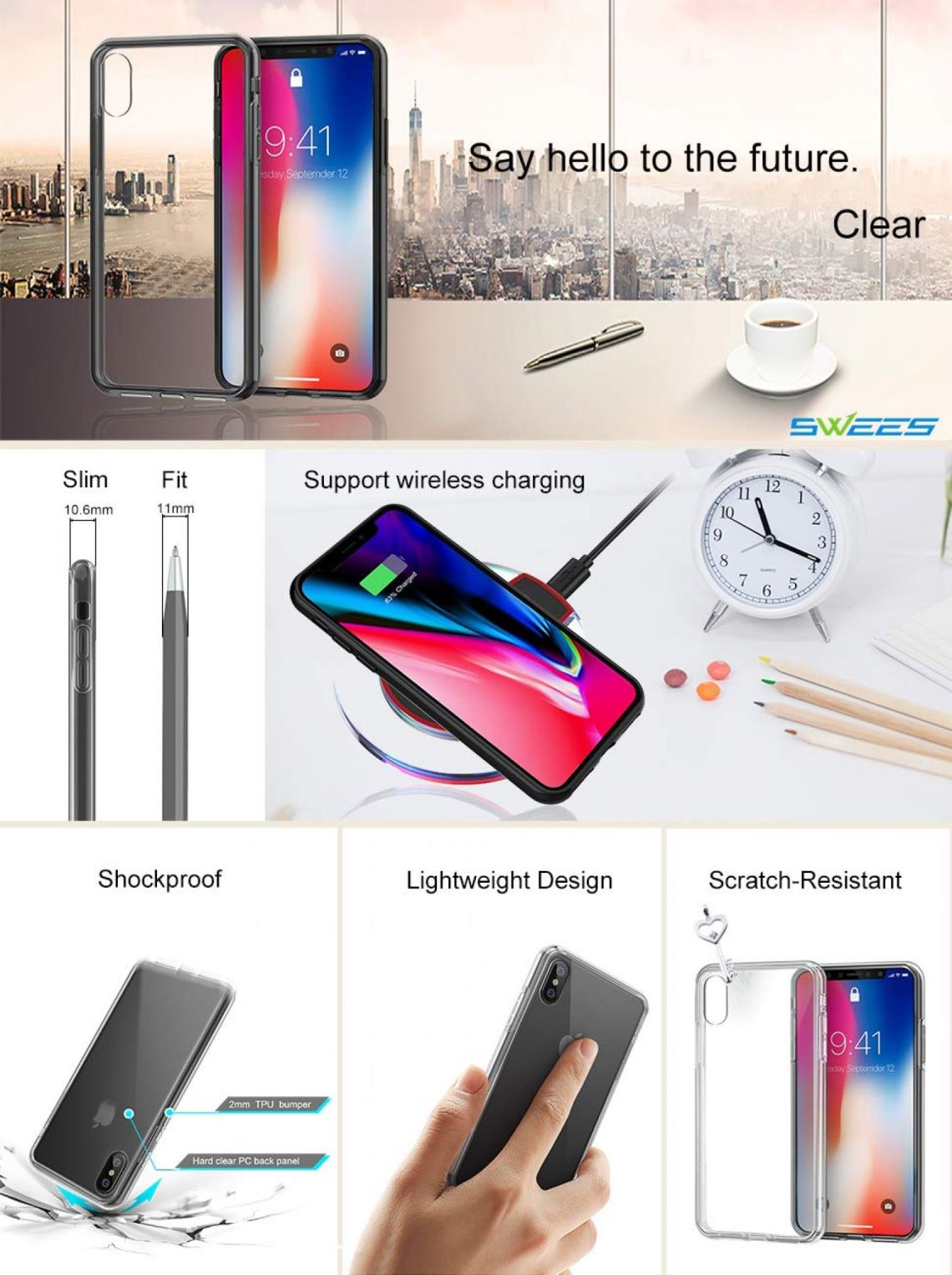 Amazon.com: SWEES Shockproof Case Compatible iPhone X, Shockproof TPU Bumper Protective Transparent Clear Hard Back Case, HD Clear: Cell Phones & Accessories