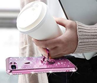Buy iPhone 8 Plus Case, iPhone 7 Plus Case, Glitter Cute Phone Case for Girls with Kickstand for $6 (Reg: $13.89)