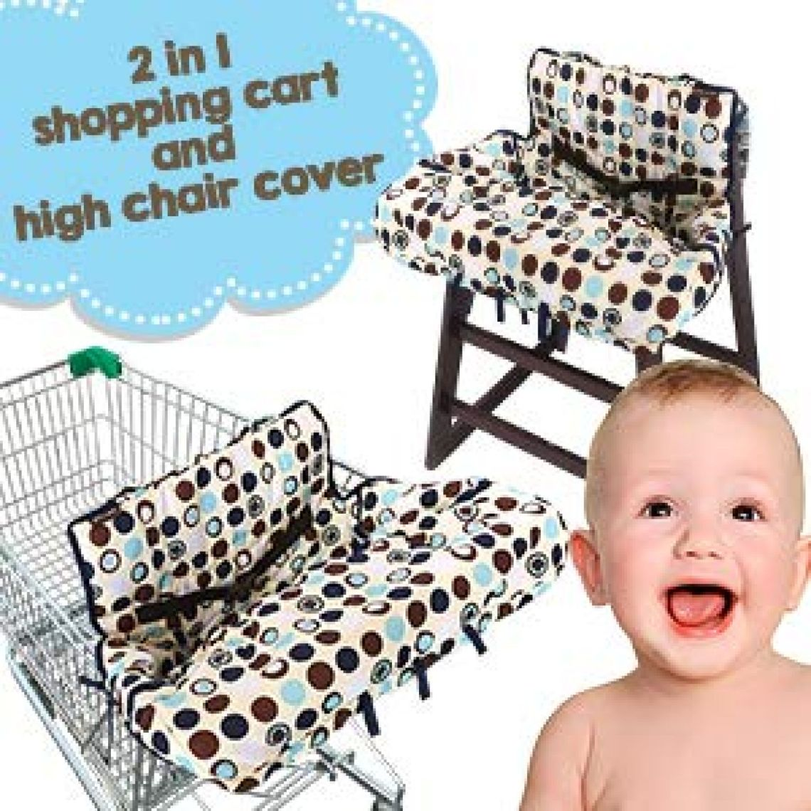 Amazon.com : Crocnfrog 2-in-1 Shopping Cart Cover | High Chair Cover for Baby | Medium : Baby