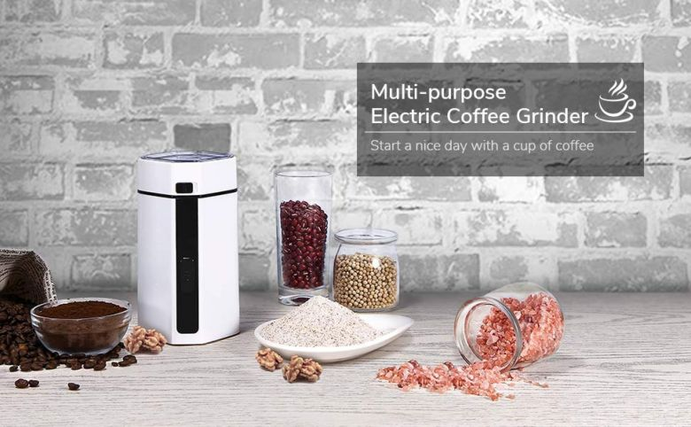 Amazon.com: Coffee Grinder Electric, TOBOX Multifunctional Coffee Mill Grinder, Spice and Coffee Grinder with Stainless Steel Blades Fast Grinding for Coffee Beans, Nuts, Grains, Spices (White): Kitchen & Dining