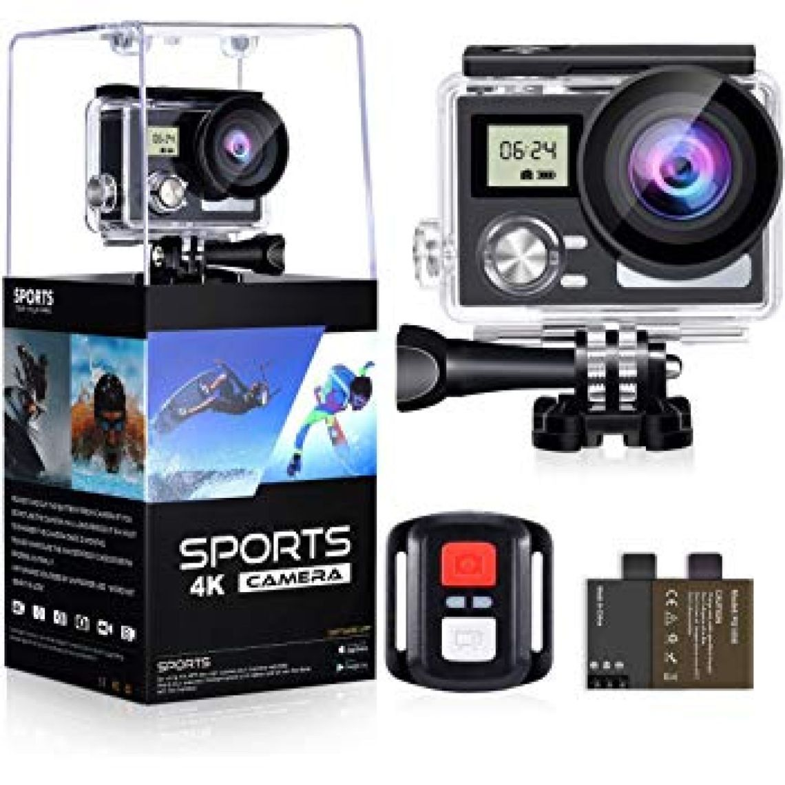 "Amazon.com : WiFi Action Camera 4K 24MP Waterproof Ultra HD Remote EIS Sports Camera 100Ft Underwater OGL 2"" LCD 170° Wide Angle 2 Rechargeable Batteries Mounting Accessories Kits (Upgraded 24MP 128GB) : Camera & Photo"