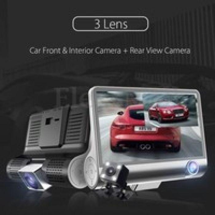 "wish | Car Digital Video Recorder 4"" Car Dash Cam 3 Lens Car Dash Camera 4-inch Display HD 1080P Car DVR Video Recorder 170 Degree Wide Angle with Waterproof Rear Camera, G-Sensor Motion Detection Loop Recording"