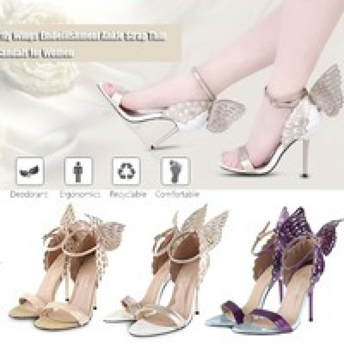 wish | Women's Sandals Sexy Butterfly Wings Embellishment Ankle Strap Thin High Heel Sandals Party Wedding Shoes