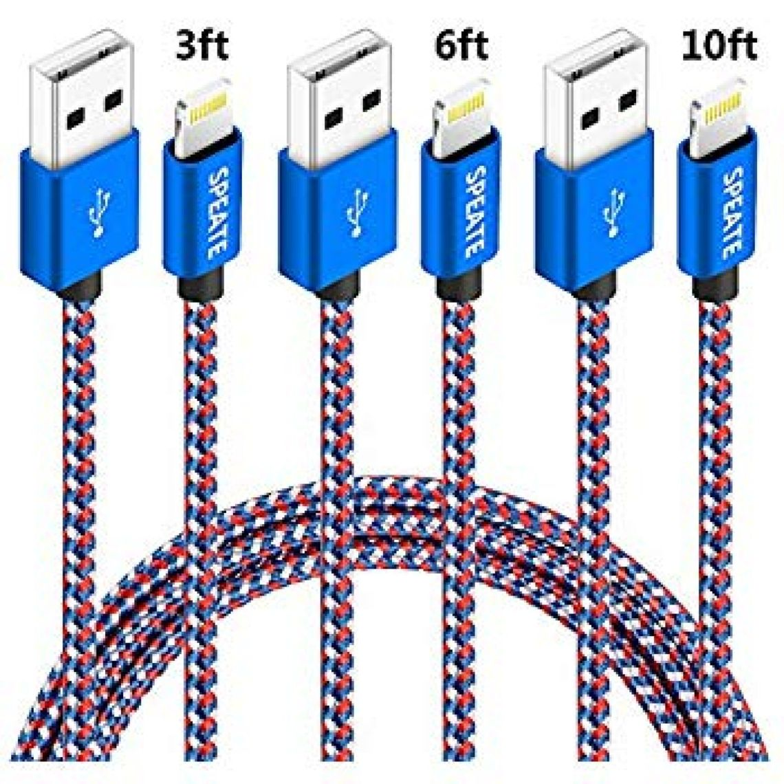 Amazon.com: iPhone Charger, Lightning Charger Cables 3FT 6FT 10FT iPhone Charger Cable Syncing USB Cord Compatible for iPhone X/8/8Plus/7/7Plus/6/6Plus/6s/6sPlus/5/5s/5c/SE/iPad/iPod (Blue+White+Red): Cell Phones & Accessories