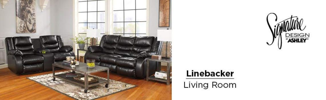 Amazon.com: Signature Design by Ashley 9520288 Linebacker DuraBlend Collection Reclining Sofa, Black: Kitchen & Dining
