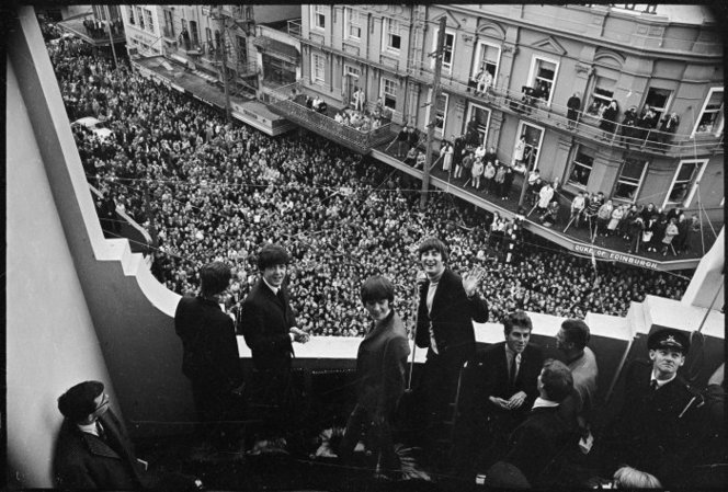 The Beatles on the balcony of the Hotel St George, Wellington, June 1964. (I got plastered every night at the hotel's student bar, Scribblers, during the mid-80s)