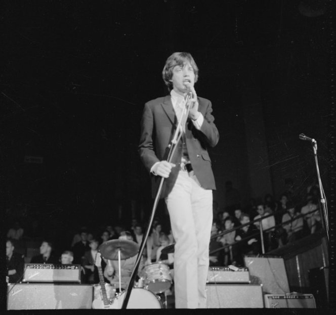 Mick Jagger on stage during one of two Rolling Stones concerts at the Wellington Town Hall, Feb. 8 1965