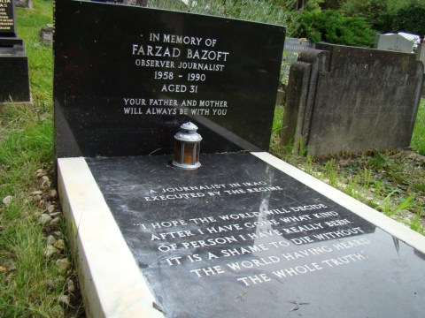 UK journalist Farzad Bazoft, executed by Saddam Hussein regime—Highgate Cemetery (Sadly omitted from VIP names listed on the Highgate guide)
