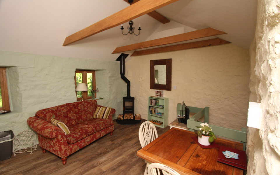 Little Trembraze living area, a healing herbal retreat in Cornwall with Deanne Greenwood