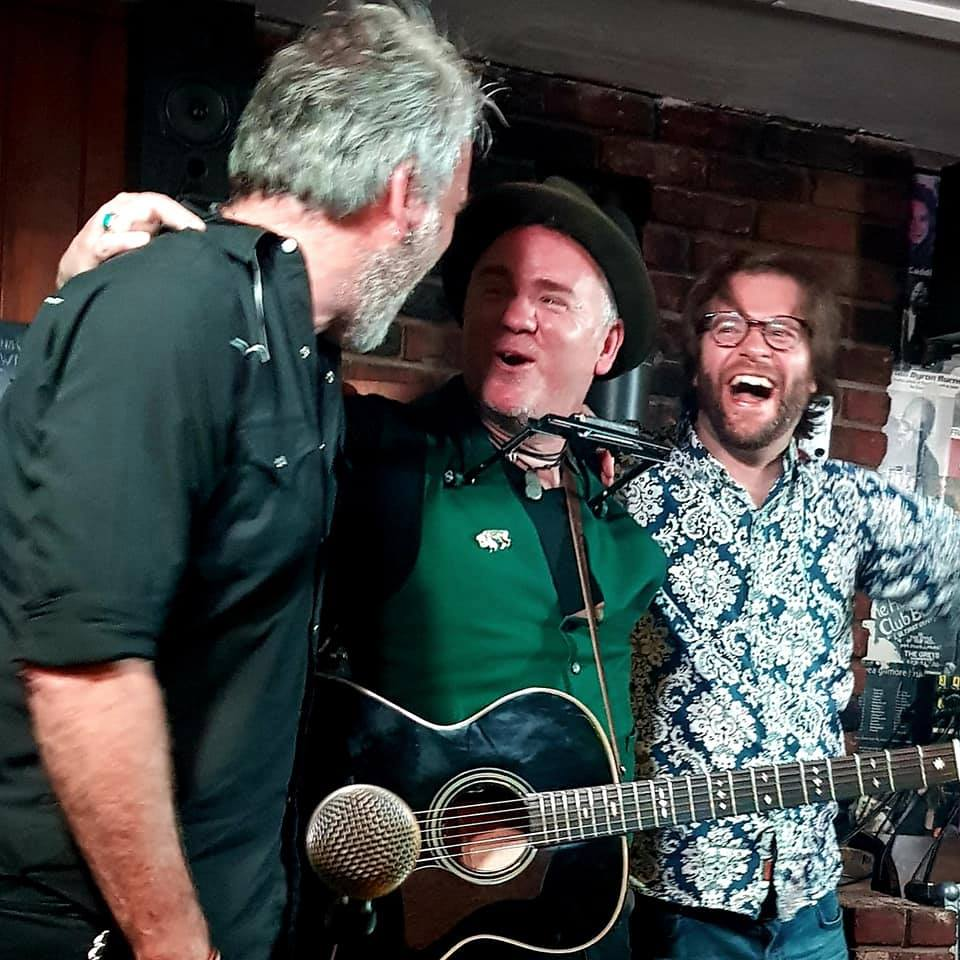 Dean Owens and the Southerners - Jim Maving, Dean and Tom Collison - celebrate after a great gig at the Greys, Brighton