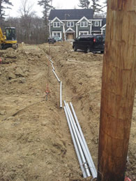 trench for underground electrical wiring