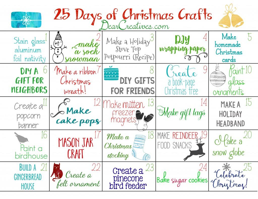Free Printable Christmas Calendar 25 Christmas Craft Ideas To Make