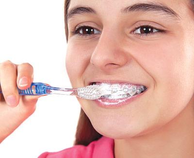 Brushing with braces.