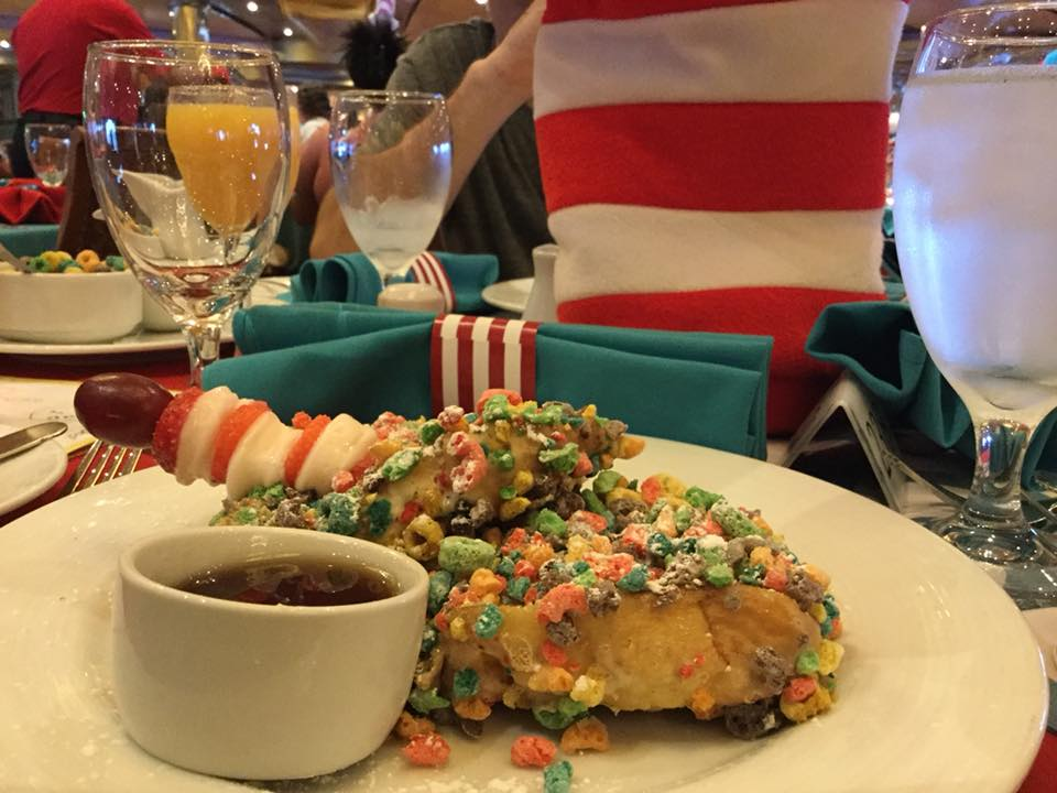 Funky French Toast from Carnival Cruise Line's Seuss at Sea Green Eggs and Ham Breakfast