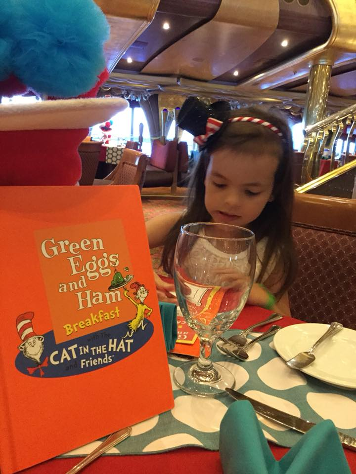Child dining at the Green Eggs and Ham breakfast aboard Carnival Liberty cruise ship.