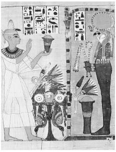 Departed souls make an offering to Horus in this illustration from the Egyptian Book of the Dead. Such images have become more widely known than the text itself. CORBIS