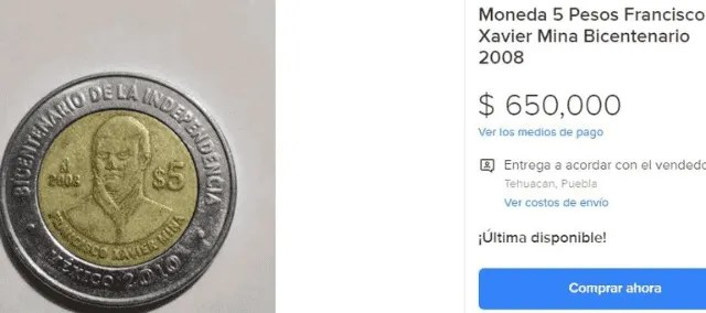 Commemorative coins that are offered up to $ 650,000 pesos