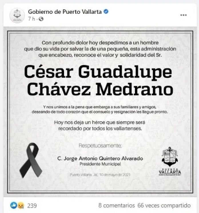 Mayor of Puerto Vallarta mourns the death of a waiter who saved a girl.
