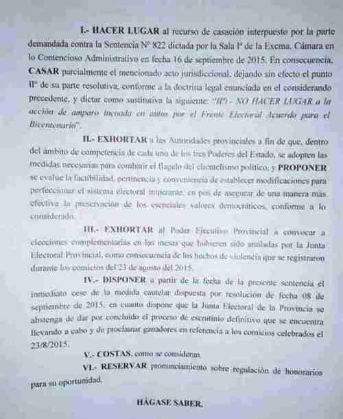 Fallo de la Corte tucumana