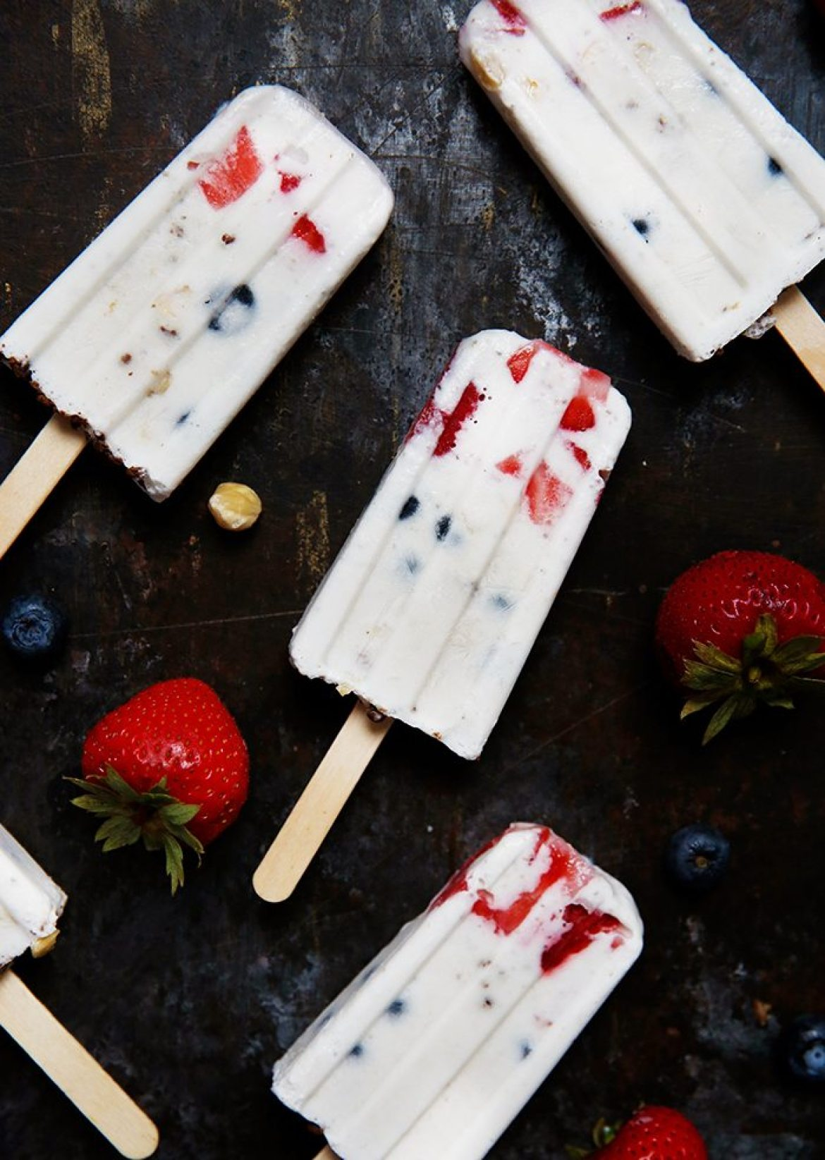 Dairy-Free and Vegan Mixed Berry Hazelnut Crunch Cream Pops