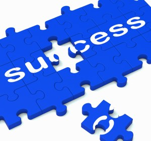 Success Jigsaw Shows Achievement Of Solution