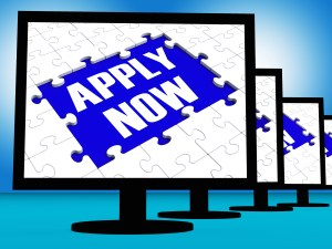 Apply Now On Monitors Shows Job Application