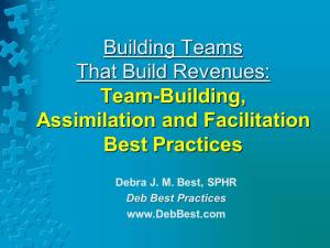 Building Teams That Build Revenues - Oct. 2015 - Deb Best Practices rev. 12 Sept. 2015
