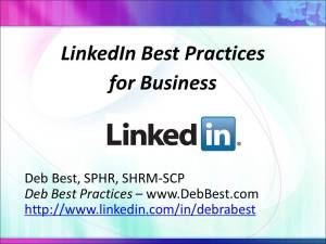 LinkedIn Best Practices for Business - August 2015
