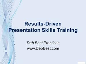 Presentation Training Pitch for Tech Valley High Rev. November 2013