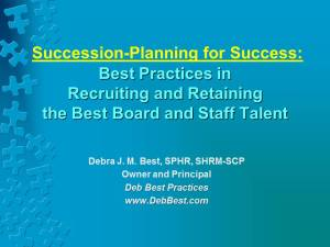 Succession Planning for Success rev. 22 September 2015