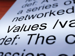 Values Definition Closeup Showing Principles And Morality