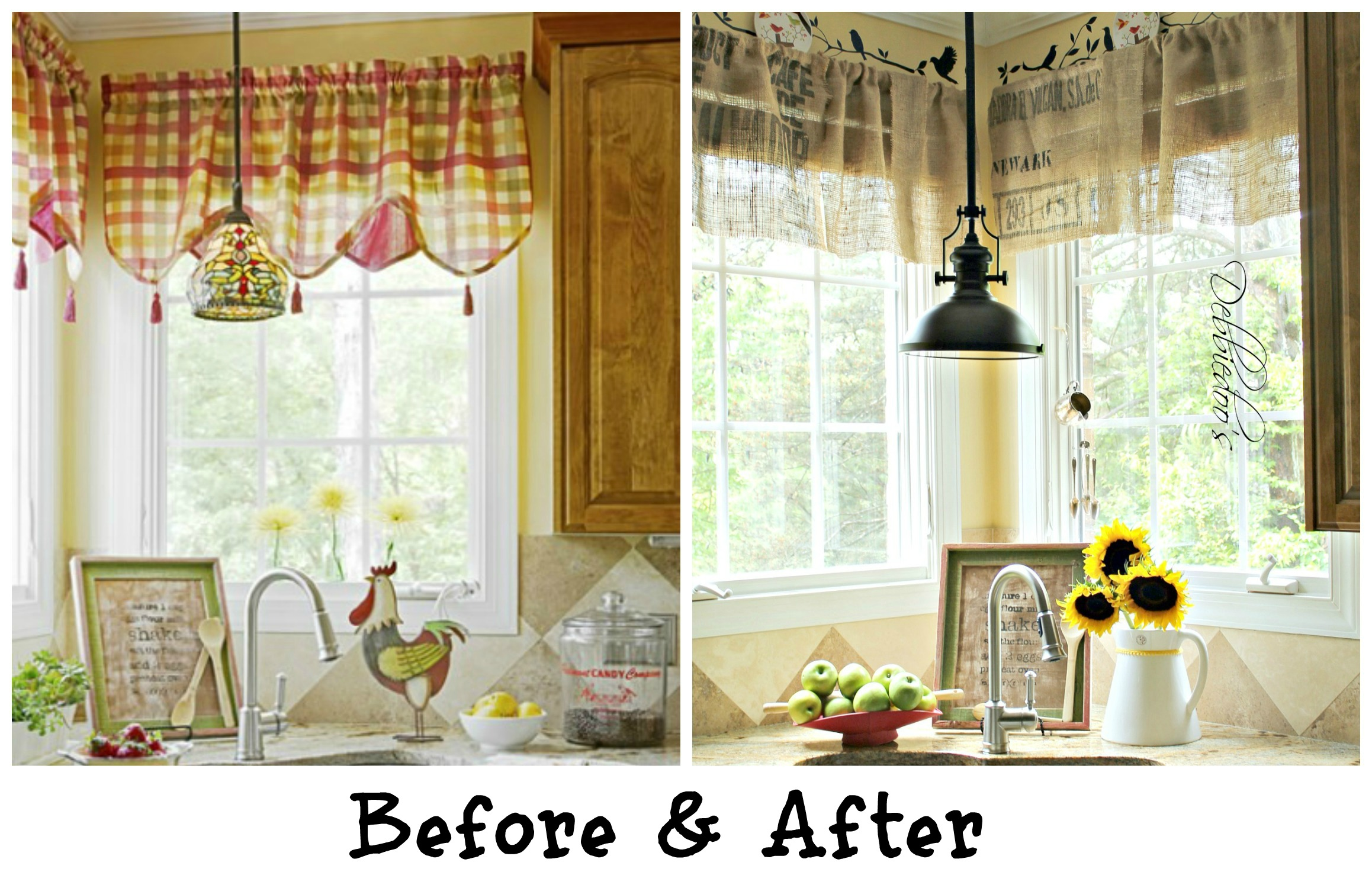 Diy No Sew Burlap Kitchen Valances De From Coffee Bags