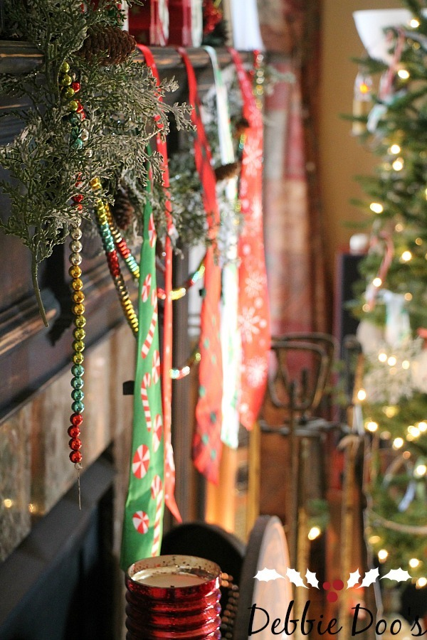 Rustic elegant Christmas mantel   Debbiedoos dollar tree mantel decorating ideas with neckties