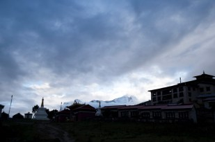 Morning glory of the Himalayas as the backdrop of Tengboche Monastery