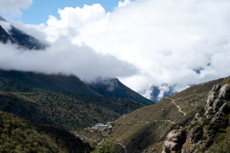 Looking back to Tengboche