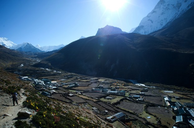 Dingboche valley under the warm morning sun