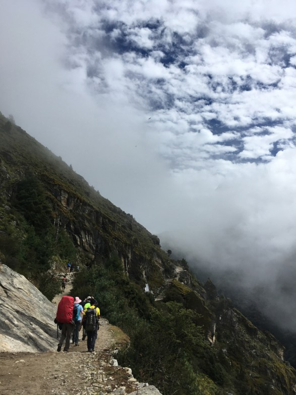 Trail along mountain ridge line