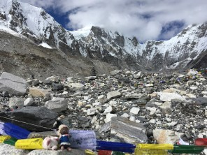 The base camp is stunningly beautiful surrounded by tall mountains and glacier.