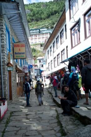Busy street in Namche Bazaar