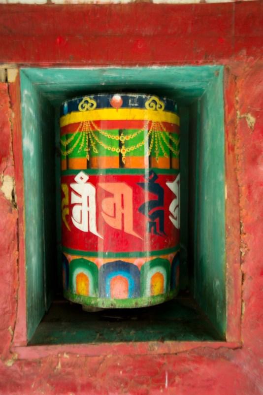 A colorful prayer wheel
