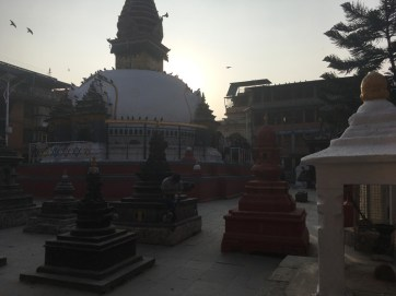 Nagha Bahal, a quiet little square down a busy street with a monastery, stupa and a school