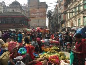 Busy streets of Indra Chowk. Local sellers are selling all kinds of fresh produce.
