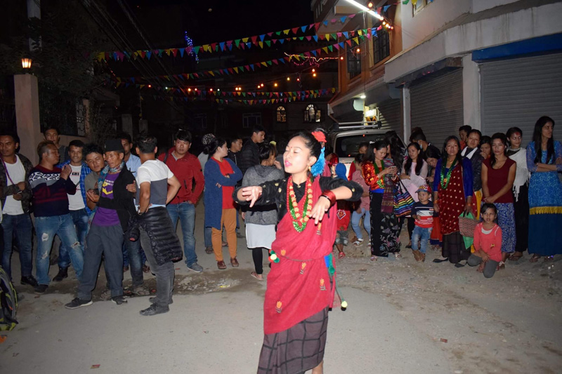 Dancing on the last day of Tihar.