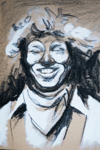 Clown - Grease Pencil, Gouache, 2014